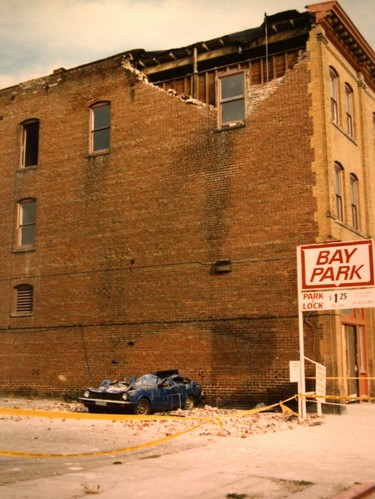 Oct. 19-1989 Shaking from the quake caused this brick wall to fail and crash down on this car parked at the Clay Building at 10th & Clay Streets in Oakland, CA, USA. 111 | by lonewolfpics