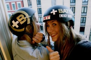 Merika Enne and Kristiina Nisula with their new helmets_Battery Energy Drink | by Battery Energy Drink