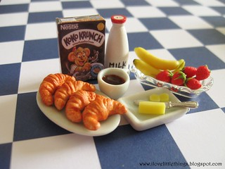 Dollhouse Miniature Croissants Breakfast Set | by ilovelittlethings