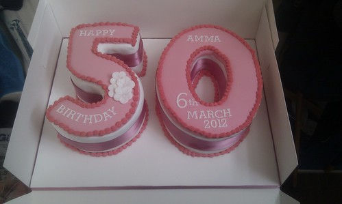 50th Number Birthday cake - Pink topped | by platypus1974