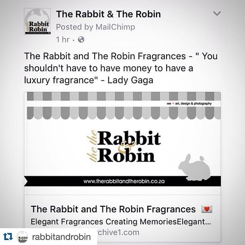"#Repost @rabbitandrobin ??? Checkout our FACEBOOK Page link to our New addition to the Family. @rabbitandrobin Fragrances ""You shouldn't have to have money to have a luxury fragrance"" - Lady Gaga Spoil Yourself with Elegant Fragrances For Only R140 Con"