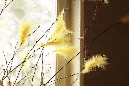 Yellow feathers in my Easter twigs | by iHanna
