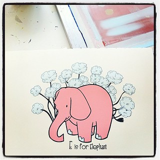Fresh new herd of oliophants, all done! E is for Elephant Alphabet Prints, ready for new homes. #silkscreen #nurseryart #processpics | by strawberryluna