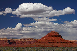Natural ziggurat and clouds, near Bluff, US163, Utah | by Robyn Hooz