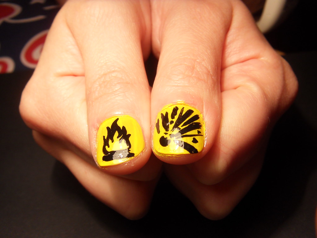 Hazard! Freehand Nail Art | Black and yellow hazard symbols,… | Flickr