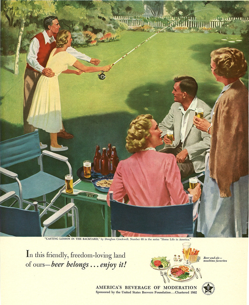 068. Casting Lessons in the Backyard by Douglass Crockwell, 1952