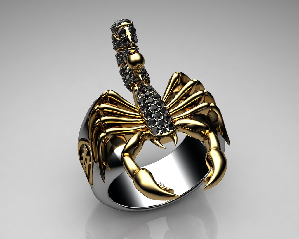 Unique Mens Ring Scorpion Sterling Silver and Gold with Bl Flickr