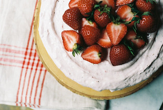 Brown Sugar Buttermilk Cake with Roasted Strawberry Frosting | by yossy arefi