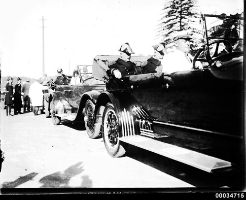 Admiral Robison and other US Navy officers seated in a procession of cars near Fort Macquarie | by Australian National Maritime Museum on The Commons