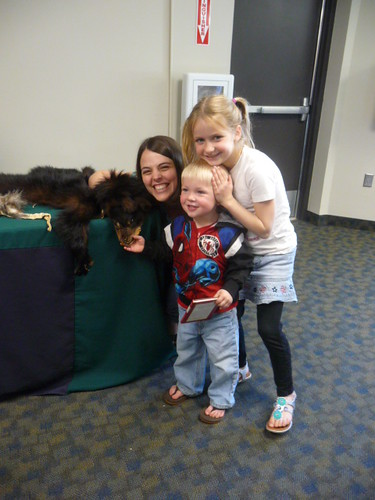 Branch librarian, Sarah Biro, and two library regulars pose for the camera. | by East Central Regional Library