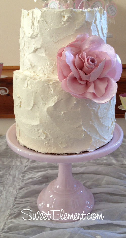 Shabby Chic Tiered Buttercream Birthday Cake W Large Pink Flickr
