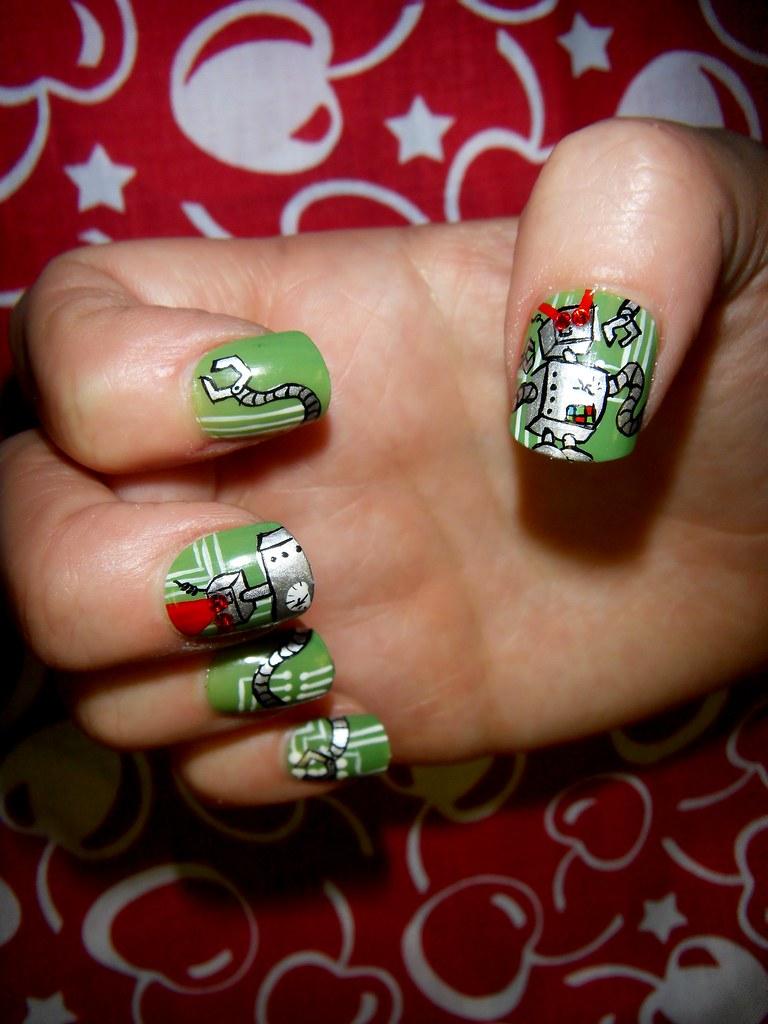 Cheery Robot Lazer Attack Nail Art | Freehand robot nail art… | Flickr