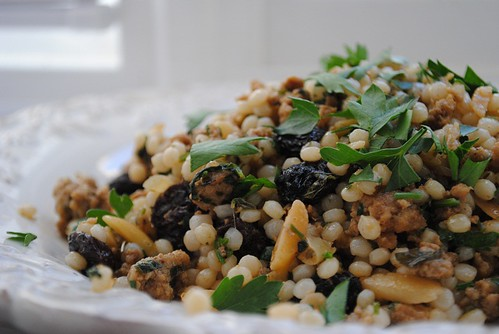 Pearl Couscous with Ground Veal, Almonds and Raisins | by mhk4
