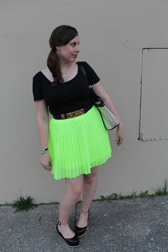Day-Glo outfit: neon chartreuse pleated mini skirt from Urban Outfitters, Patent leather Jeffrey Campbell flatforms, vintage Moschino belt, Double-scoop ballet tee, etc. | by Célèste of Fashion is Evolution