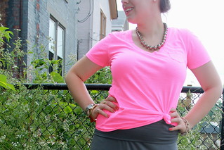 Tickled pink outfit: neon pink pocket v-neck tee from Gap, gray jersey maxi skirt, J.Crew pavé cable link bracelet, signet ring, gold-ball ring, sunburst bangle, Dolce Vita T-strap sandal, etc. | by Célèste of Fashion is Evolution