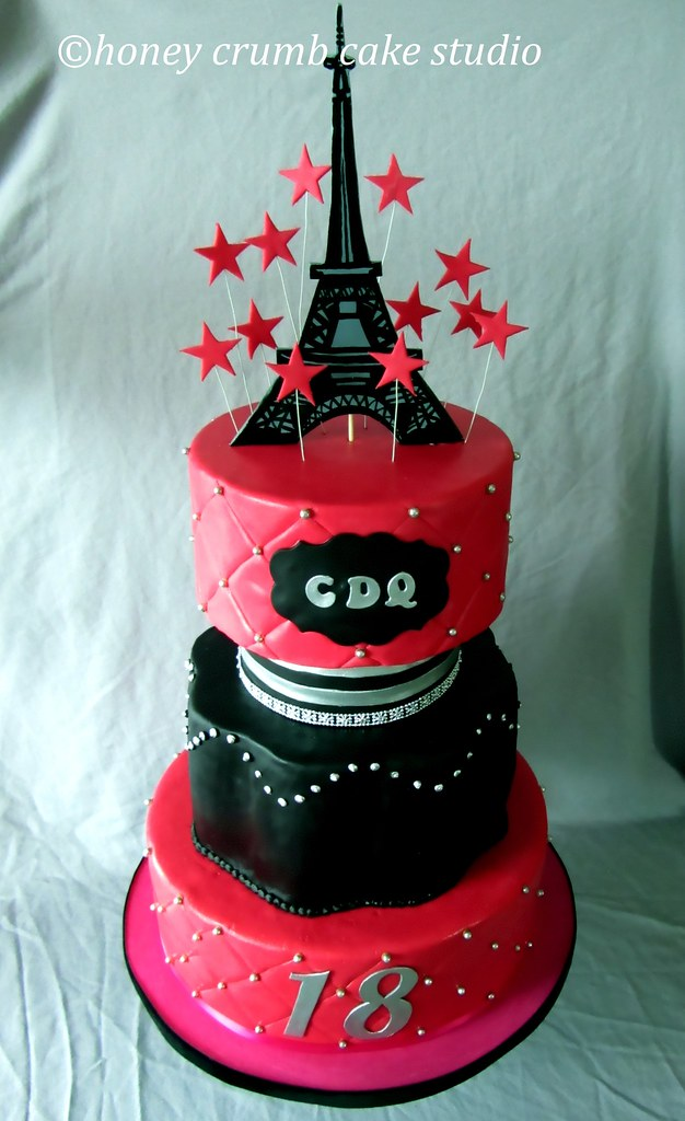 Pink And Black Birthday Cake With Eiffel Tower Topper Flickr
