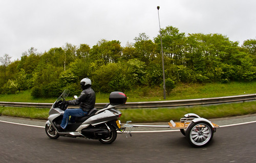 Motorcycle, Scooter trailer. On the road. | by CWhatPhotos