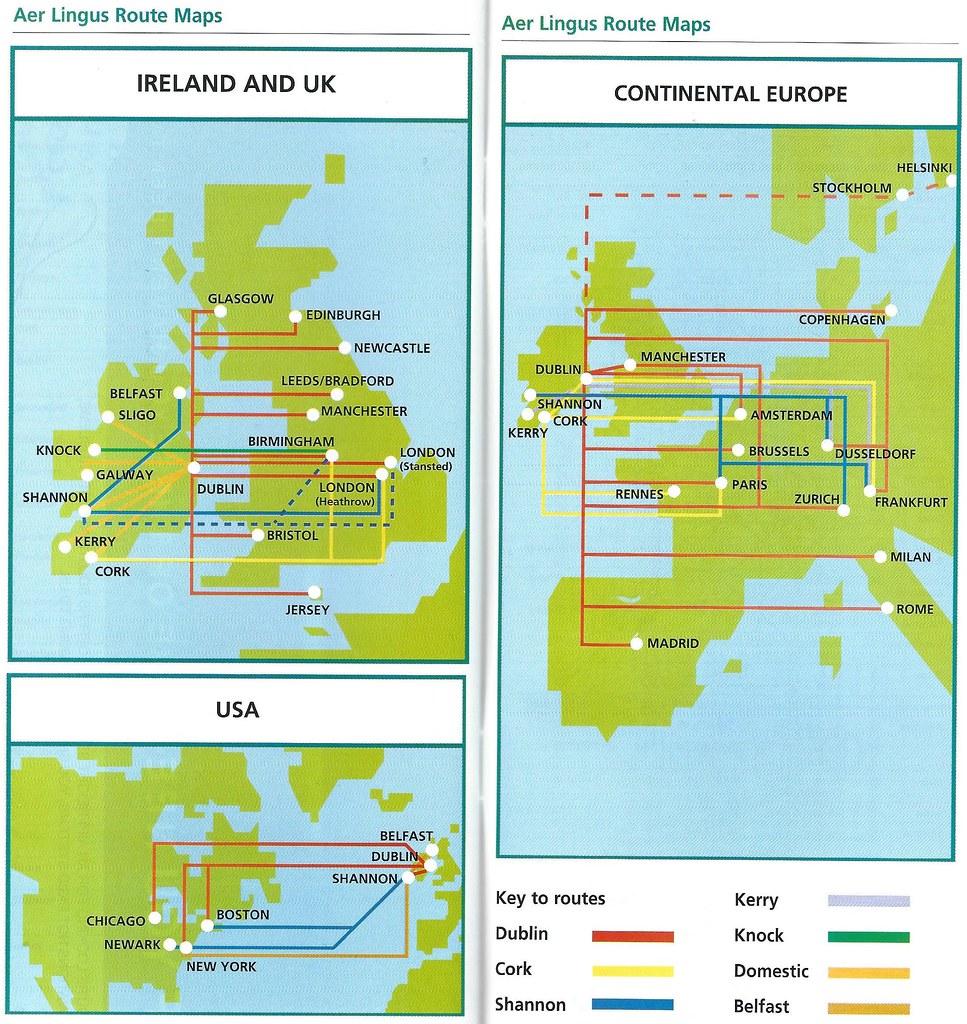 Aer Lingus Route Map Aer Lingus route maps, June 1998 | A set of Aer Lingus route… | Flickr Aer Lingus Route Map