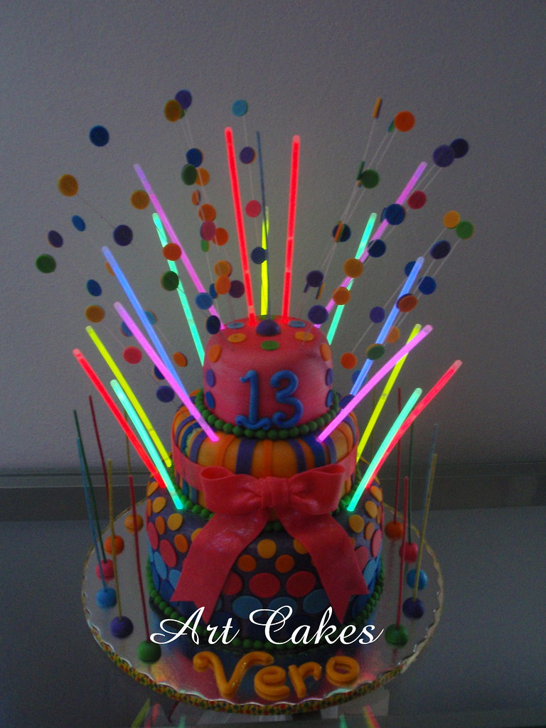 Disco Birthday Cake With Glow In The Dark Strips Flickr