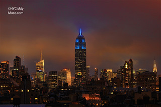 Foggy glow for the NYC skyline with the Empire State Building in Blue for the Weather Channel's 30th Anniversary | by NYCisMyMuse