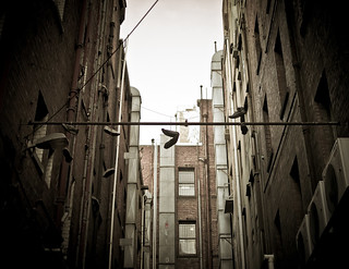 Hanging up the boots. Melbourne laneways. | by Livnius