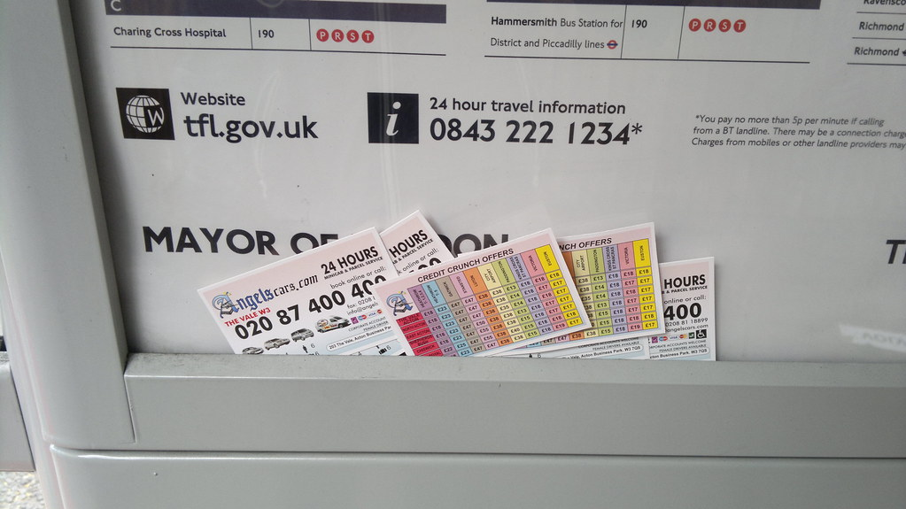 15th June 2012 Taxi Business Cards Bus Stop Sutton Court R Flickr