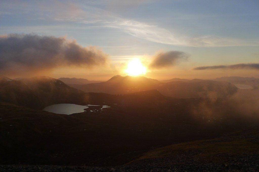 Sun setting over An Teallach