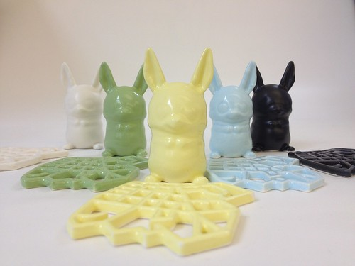 The new palette of 3D Printed Ceramics at Shapewaysincludes Satin White, Avocado Green, Pastel Yellow, Eggshell Blue and Satin Black | by Shapeways: