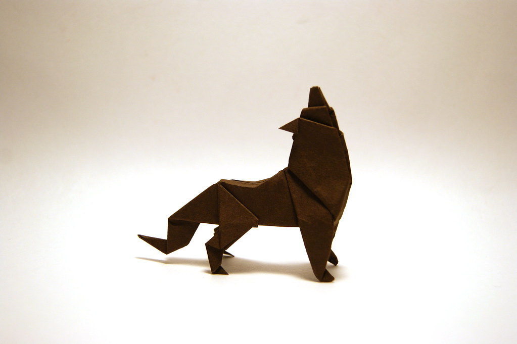 Howling Origami Wolf Designed And Folded By Mindaugas Cesn