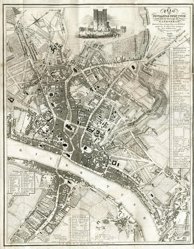 Map of Newcastle Upon Tyne and Gateshead 1833 Thomas Oliv Flickr