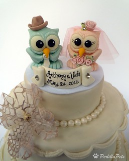 Owl Wedding Cake Topper With Cowboy Hat For Groom You