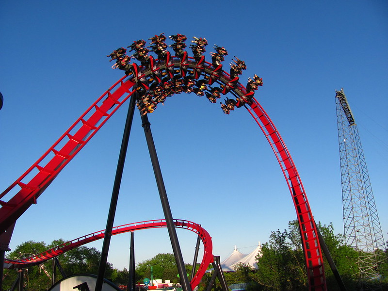 Six Flags Great America's X-Flight. Photo: Jeremy Thompson, CC.