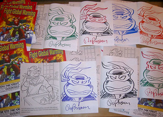 "THE TOYS TIME FORGOT :: FREE COMIC BOOK DAY;"" FIGHT GLOBAL WARMING  COLORING BOOK Featuring The Wild West C.O.W.-Boys of Moo Mesa "" - TMNT Head sketches by Ryan Brown (( May 5, 2012 )) 