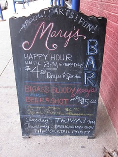 Mary's Bar Happy Hour board | by Meguiar