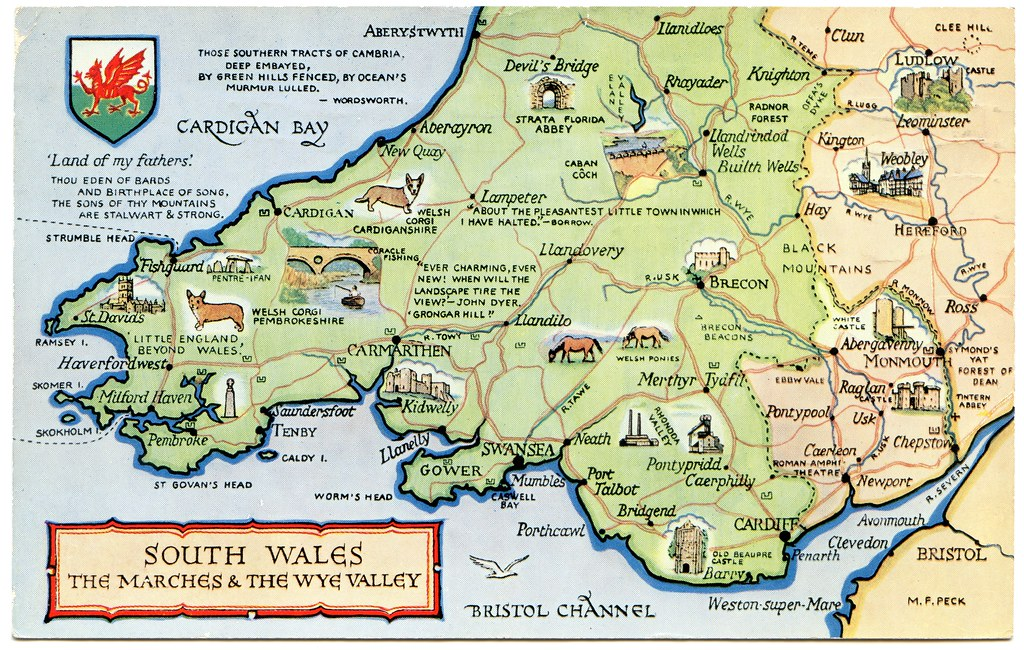 South Wales Map Postcard map of South Wales, the Marches and the Wye Valle… | Flickr South Wales Map