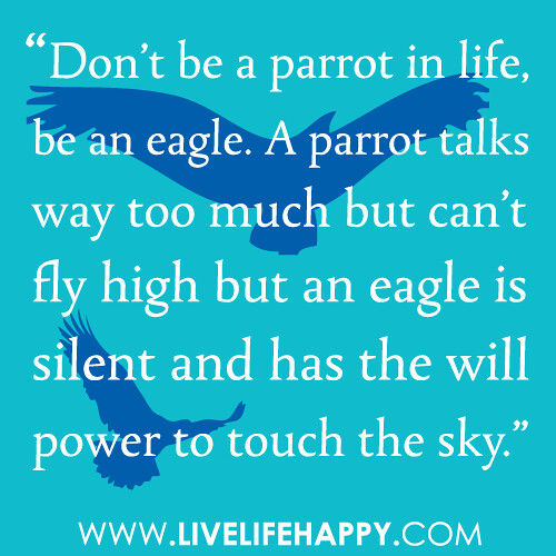 """30 Cool High School Graduation Quotes From: """"Don't Be A Parrot In Life, Be An Eagle. A Parrot Talks Wa"""
