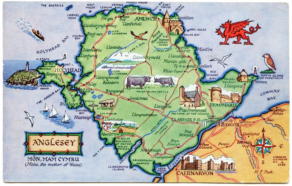 Map Of Anglesey Postcard map of Anglesey, Môn, Mam Cymru   Drawn by M F Peck…   Flickr Map Of Anglesey