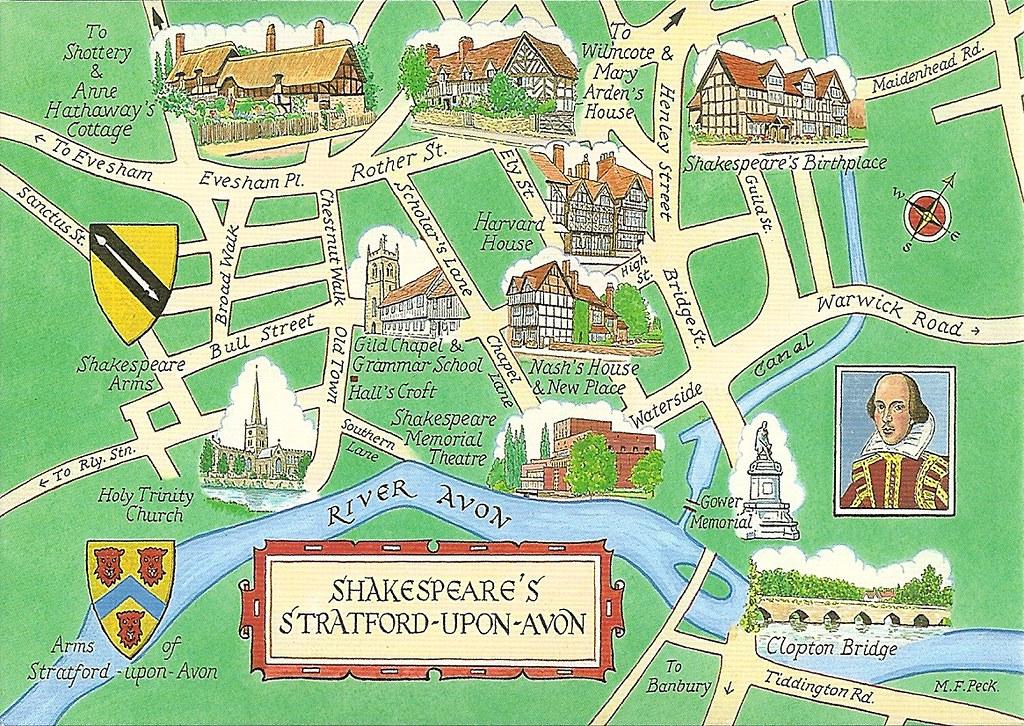 Shakespeares Stratford Upon Avon England Map