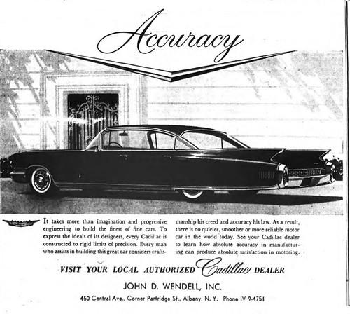 Wendell Cadillac Car Dealer Central Ave Albany Ny 1960