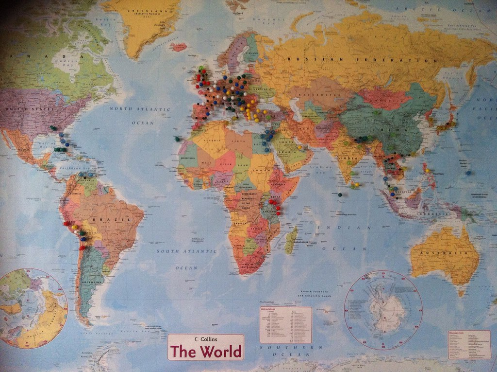 World map pins these pins mark the major places i have bee flickr world map pins by lemster carlito gumiabroncs Images