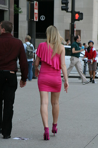 Tight pink Dress with A Beautiful Pair of High Heels | by timemachine1948