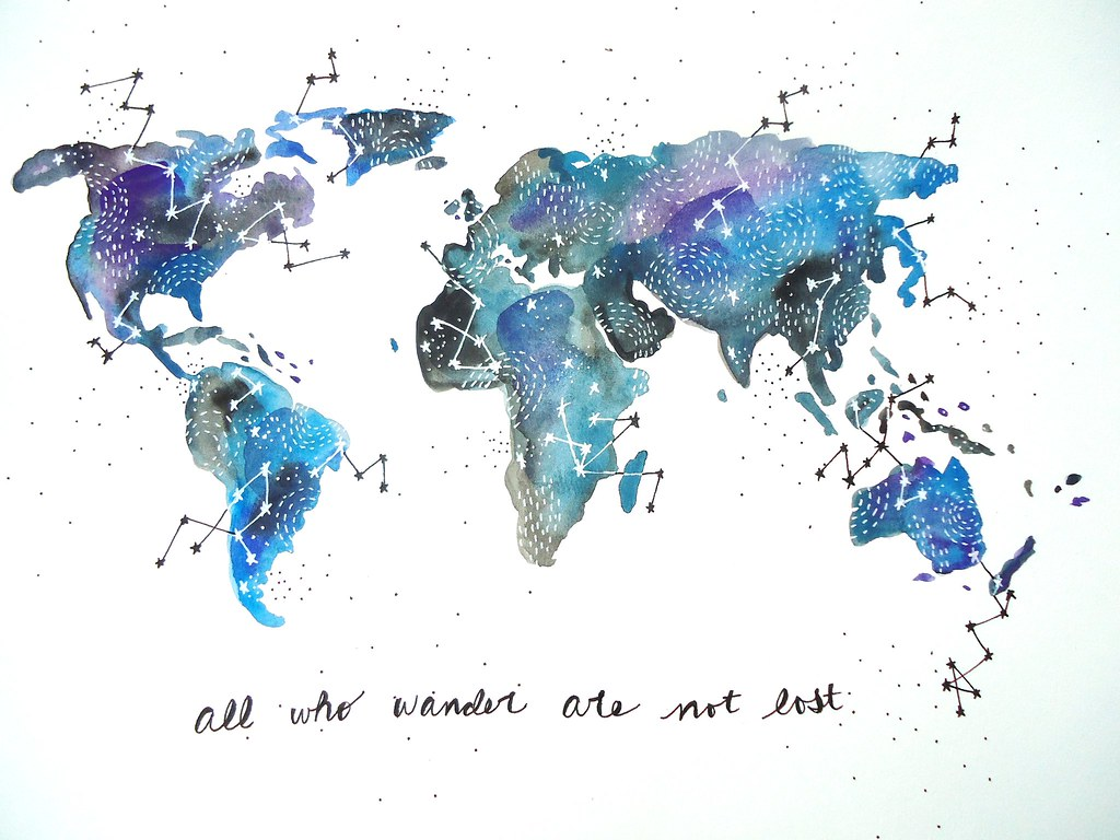 Watercolor Map Our Wonderful World
