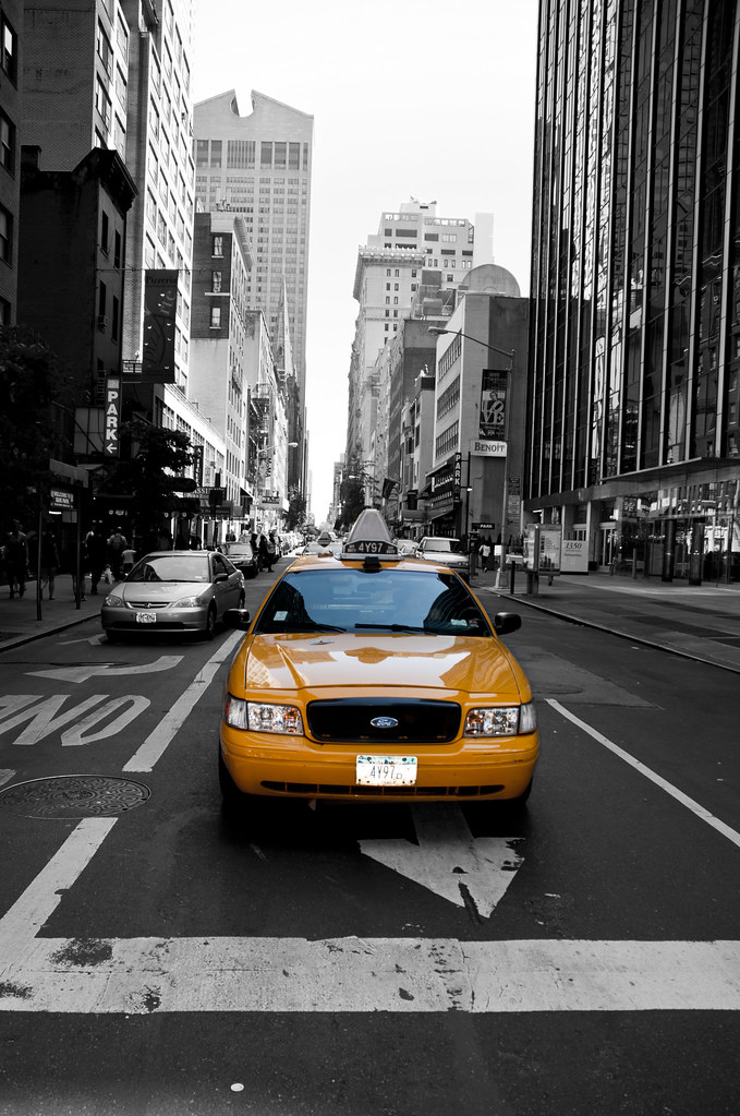 New york city yellow cab black and white by loek janssen