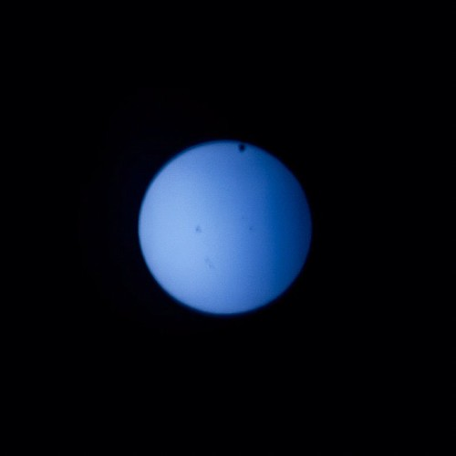 Transit of Venus starting, last chance to see until 2117. Taken with ND-400 filter on 300mm lens. | by khenney