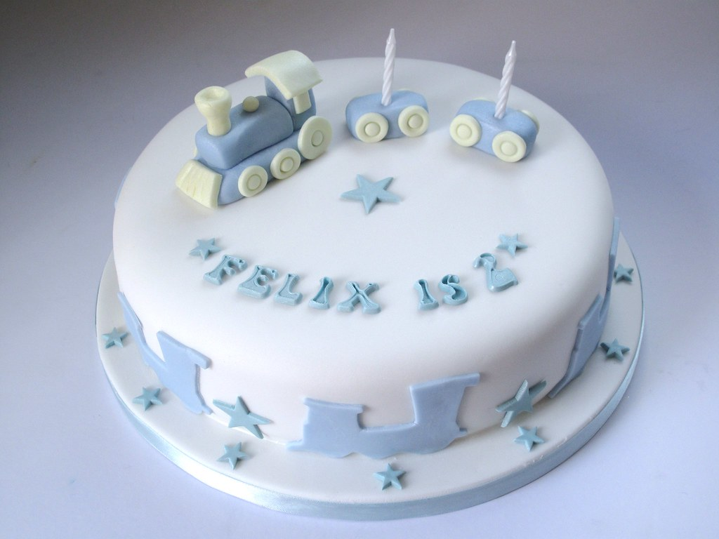 10 Inch Birthday Cake In Any Flavour And Colour With Fondant Train 50