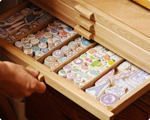 Drawer of hand carved rubber stamps | by Memi The Rainbow