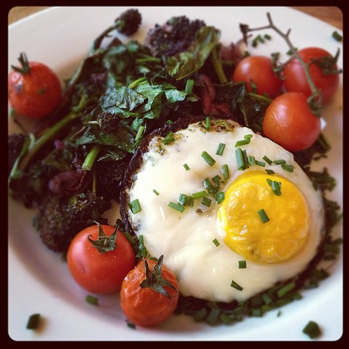 Egg baked in a portobello with pesto, psb and roast tomato. #dinner | by monica.shaw