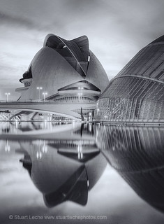 Sunset Reflections, City of Arts & Sciences, Valencia, Spain 4 Mono | by Stuart Leche