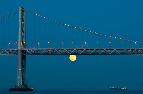 Supermoon moonrise - San Francisco Bay Bridge | by Nancy-D