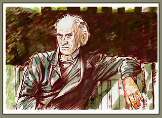"JEAN ( ""Moebius"") GIRAUD ON A  PARK BENCH 